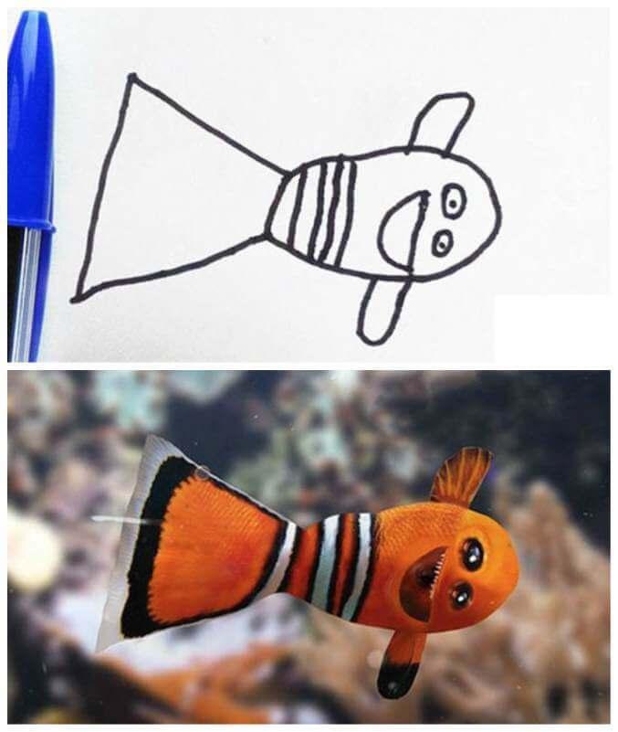 Hur man tecknar spruta från att hitta Nemo